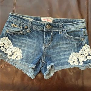 Hot Kiss cut off shorts with lace appliqué